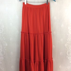 Vintage Darling Deb's Red Tiered Maxi Skirt S